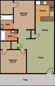 Two Bedrooms / Two Baths - 830 Sq. Ft.*